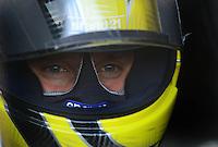 May 18, 2012; Topeka, KS, USA: NHRA top fuel dragster driver Morgan Lucas during qualifying for the Summer Nationals at Heartland Park Topeka. Mandatory Credit: Mark J. Rebilas-