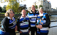 Bath supporters pose for a photo prior to the match. Aviva Premiership match, between Bath Rugby and Harlequins on October 31, 2015 at the Recreation Ground in Bath, England. Photo by: Alex Davidson / JMP for Onside Images