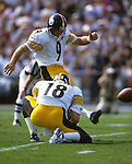 UNDATED:  NFL place kicker Norm Johnson of the Pittsburgh Steelers in action during an NFL game.  Johnson played in the NFL from 1982-1999.  (Photo by Ron Vesely)