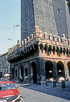 Italy: Bologna--Two Towers in Piazza Di Porta Ravegnana. Building in forground unidentified. Photo '83.