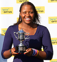 Winner of the Girls Junior Singles, TAYLOR TOWNSEND..28/01/2012, 28th January 2012, 28.01.2012 - Day 13..The Australian Open, Melbourne Park, Melbourne,Victoria, Australia.@AMN IMAGES, Frey, Advantage Media Network, 30, Cleveland Street, London, W1T 4JD .Tel - +44 208 947 0100..email - mfrey@advantagemedianet.com..www.amnimages.photoshelter.com.