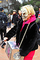 Tokyo, Japan - March 11: A woman with a scary mask participated in a demonstration against nuclear power plants at Chiyoda, Tokyo, Japan on March 11, 2012. As this day was one year anniversary of Great East Japan Earthquake and Tsunami, there were many demonstrations held in the city.