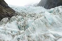 Icefall with crevasses on Fox Glacier, Westland Tai Poutini National Park, UNESCO World Heritage Area, West Coast, New Zealand, NZ