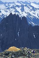 Climbers camp on Sahale Arm, North Cascades National Park, Washington.