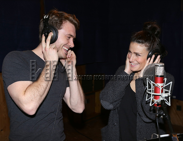 "James Snyder and Idina Menzel attends the ""If/Then"" Original Broadway Cast Recording at MSR Recording Studios on April 7, 2014 in New York City."