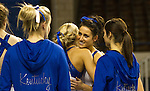 Sophomore Shelby Hilton (right) is congratulated by her teammate junior Holly Cunningham after her balance beam routine. The number 25 ranked UK gymnastics team competed against each other during Thursday's blue vs white intra-squad scrimmage. in Lexington, Ky., on Thursday, December, 6, 2012. Photo by James Holt | Staff