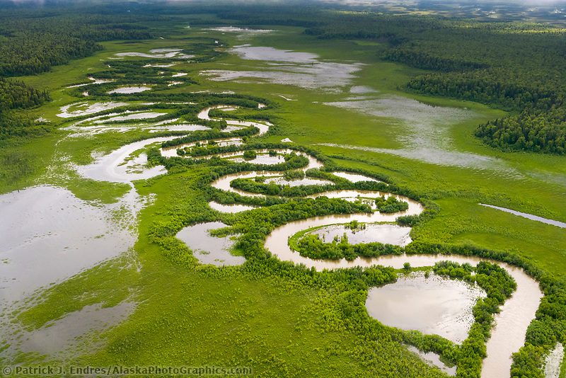 Winding creek through tundra wetland geological features, southcentral Alaska, west of cook inlet.