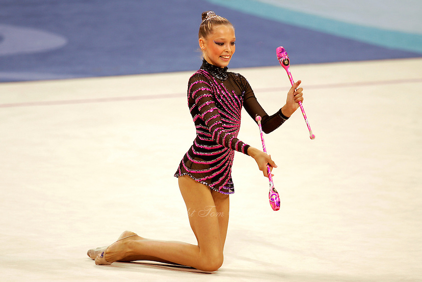 Dominika Cervenkova of Czech Republic...wide view with clubs during qualifications round at 2004 Athens Olympic Games on August 27, 2006 at Athens, Greece. (Photo by Tom Theobald)