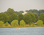 Washington DC; USA: Scullers rowing on the Potomac River with Arlington National Cemetery in background.Photo copyright Lee Foster Photo # 21-washdc82562