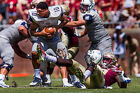 TALLAHASSEE, FLA 9/10/16-Florida State's Josh Sweat, right, removes the helmet of Charleston Southern quarterback Robert Mitchell before another teammate sacked Mitchell for a five yard loss during first quarter action Saturday at Doak Campbell Stadium in Tallahassee. <br /> COLIN HACKLEY PHOTO