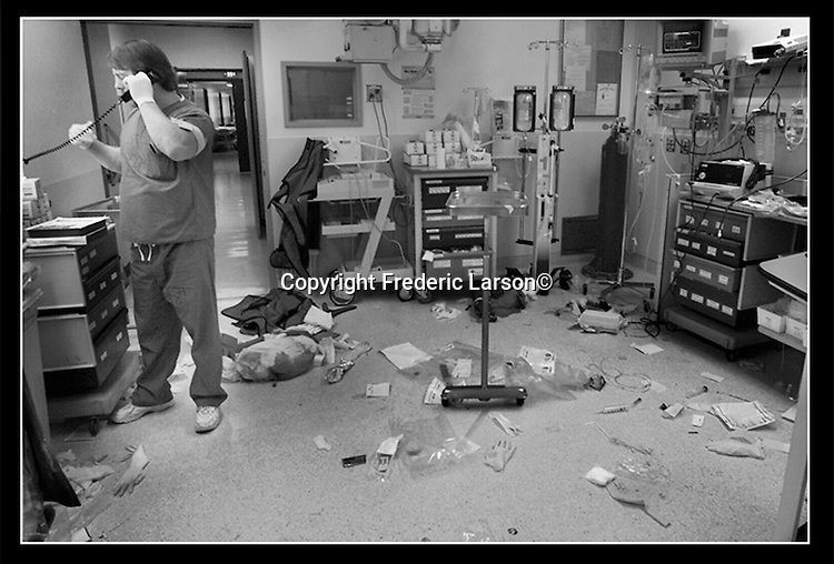 The nurse on duty works in the emergency room in the San Francisco General Hospital on a busy weekend night.