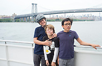 Bike ride over the Williamsburg and Brooklyn Bridges with Alan, Felix and Lucas.  New York summer holiday with family, 2014
