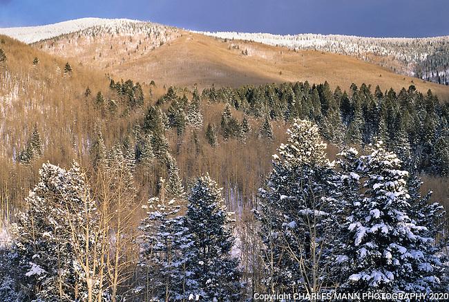The Sangre de Cristo mountians above Santa Fe take on a dramatic aura during a winter snow.