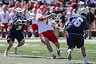 College Park, MD - April 8, 2017: Maryland Terrapins Tim Rotanz (7) scores a goal during game between Penn State and Maryland at  Capital One Field at Maryland Stadium in College Park, MD.  (Photo by Elliott Brown/Media Images International)