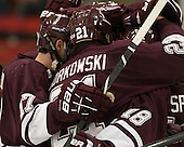 Robbie Bourdon (Colgate - 17), Mike Borkowski (Colgate - 21), Tylor Spink (Colgate - 18) - The Harvard University Crimson defeated the Colgate University Raiders 4-1 (EN) on Friday, February 15, 2013, at the Bright Hockey Center in Cambridge, Massachusetts.