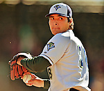 30 June 2012: Vermont Lake Monsters pitcher Andres Avila warms up prior to a game against the Lowell Spinners at Centennial Field in Burlington, Vermont. Mandatory Credit: Ed Wolfstein Photo