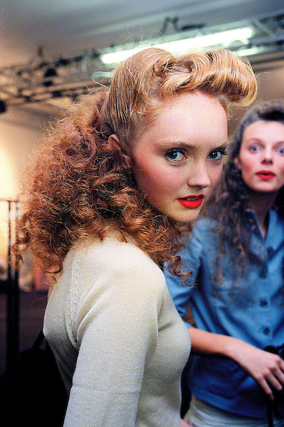 Lily Cole poses backstage during London Fashion Week