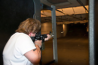 Lorton,VA, July 10 2016, USA--Rita Mayer shots her AK 15 pistol at a gun range in Lorton, VA.  Members of the Pink Pistols, a Lesbian,Gay, Bi-sexual, Transgender (LGBT) gun club, gather at a shooting range to practice their skills.  The Pink Pistols advocate the rights of all LGBT people to own guns.  Patsy Lynch/MediaPunch