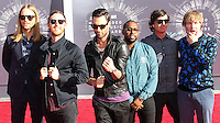 LOS ANGELES, CA, USA - AUGUST 24: Mickey Madden, Jesse Carmichael, Adam Levine, James Valentine, Matt Flynn, PJ Morton, Maroon 5 at the 2014 MTV Video Music Awards held at The Forum on August 24, 2014 in the Los Angeles, California, United States. (Photo by Xavier Collin/Celebrity Monitor)