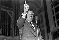 Rev Ian Paisley addressing a rally in the Ulster Hall, Belfast, N Ireland, 3rd December 1973, in which he called for supporters of his political opponent, Ulster Unionist Party leader, Brian Faulkner, to be sent to Coventry. 197312030738d<br />