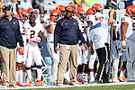 24 October 2015: Virginia head coach Mike London. The University of North Carolina Tar Heels hosted the University of Virginia Cavaliers at Kenan Memorial Stadium in Chapel Hill, North Carolina in a 2015 NCAA Division I College Football game. UNC won the game 26-13.