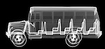 X-ray image of a school bus (white on black) by Jim Wehtje, specialist in x-ray art and design images.