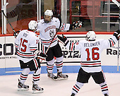 Kevin Roy (NU - 15), Joseph Manno (NU - 92), Ryan Belonger (NU - 16) - The Northeastern University Huskies defeated the visiting Merrimack College Warriors 4-2 (EN) on Wednesday, October 10, 2012, at Matthews Arena in Boston, Massachusetts.