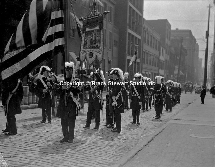 Pittsburgh PA: View of Masons gathering on 1st Avenue to get ready for the 1903 St Patrick's Day Parade in Pittsburgh.