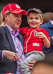 4 April 2014: A young Washington Nationals fan watches the game against the Atlanta Braves during the Nationals Home Opening Game at Nationals Park in Washington, DC. The Braves edged out the Nationals 2-1 in their first meeting of the 2014 MLB season. Mandatory Credit: Ed Wolfstein Photo *** RAW (NEF) Image File Available ***