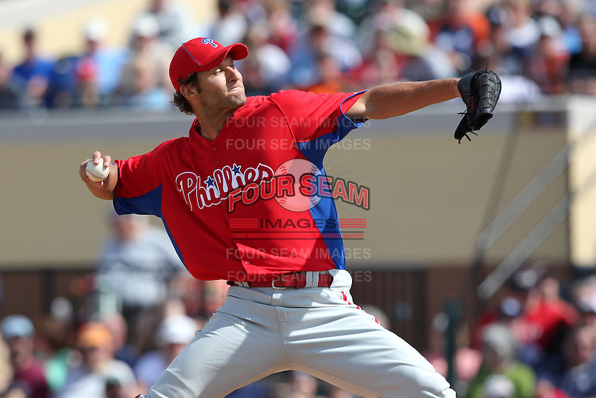 Philadelphia Phillies Michael Schwimer #78 during a spring training game against the Baltimore Orioles at Bright House Field in Clearwater, Florida;  March 6, 2011.  Photo By Mike Janes/Four Seam Images