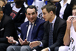 30 October 2015: Duke head coach Mike Krzyzewski (left) with assistant Jon Scheyer (right). The Duke University Blue Devils hosted the Florida Southern College Moccasins at Cameron Indoor Stadium in Durham, North Carolina in a 2015-16 NCAA Men's Basketball Exhibition game. Duke won the game 112-68.