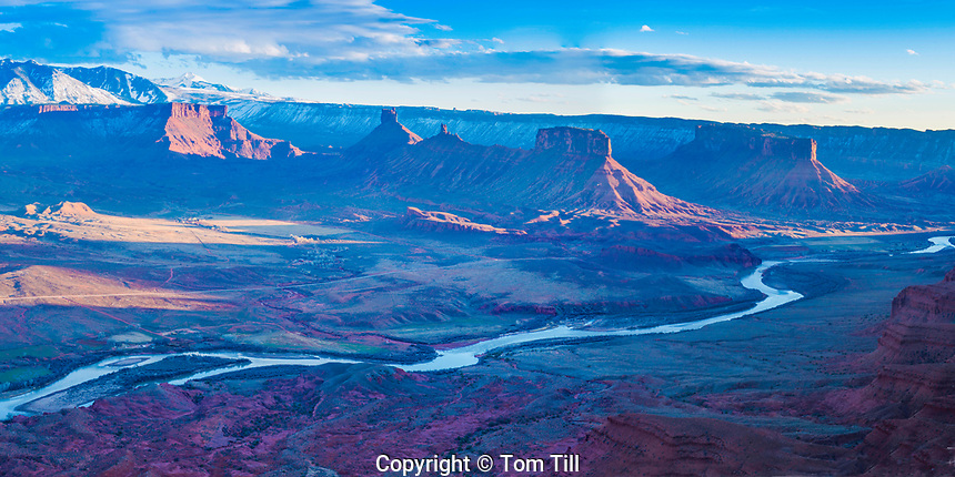 View from OMG Point.  Panormaic view of Fisher Towers, Castle Rock and Valley, La Sal Mountains, Colorado River near Moab