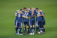 The Vancouver Whitecaps huddle before the start of play. The New York Red Bulls and the Vancouver Whitecaps played to a 1-1 tie during a Major League Soccer (MLS) match at Red Bull Arena in Harrison, NJ, on September 10, 2011.