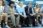 24 November 2012: UNC head coach Sylvia Hatchell (center). The University of North Carolina Tar Heels played the La Salle University Explorers at Carmichael Arena in Chapel Hill, North Carolina in an NCAA Division I Women's Basketball game. UNC won the game 85-55.
