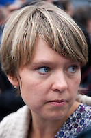 Moscow, Russia, 22/08/2010. .Ecological activist Yevgenia Chirikova in Pushkin Square, where some 3,000 people gathered for a concert and protest against the destruction of part of Khimki Forest in northern Moscow as part of a motorway project. The concert was banned and police seized the performers' musical equipment, but unusually the anti-government protest was allowed to take place, although a number of opposition organisers were arrested on their way to the demonstration.