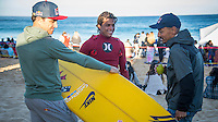 Waimea Bay, North Shore, Oahu, Hawaii (Wednesday, February 10 2016): Carlos Burle (BRA), Carlos Burle (BRA) and  Ramon Navarro (CHL)- The Quiksilver In Memory of Eddie Aikau was given the Green light 'Go' signal two days ago with a forecasted big swell due to hit on Wednesday morning. Everything was put in place for the event to kick off with some contestants flying into Hawaii from Chile, France, Australia and the US mainland. Unfortunalty the predicted swell failed to arrive as predicted as the storm front moved North of the islands forcing the postponement . <br /> Photo: joliphotos.com