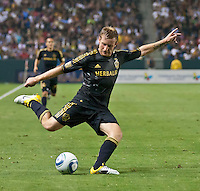 CARSON, CA – July 4, 2011: LA Galaxy midfielder Chris Birchall (8) during the match between LA Galaxy and Seattle Sounders FC at the Home Depot Center in Carson, California. Final score LA Galaxy 0, Seattle Sounders FC 0.