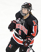 Casie Fields (NU - 9) - The Northeastern University Huskies tied Boston University Terriers 3-3 in the 2011 Beanpot consolation game on Tuesday, February 15, 2011, at Conte Forum in Chestnut Hill, Massachusetts.