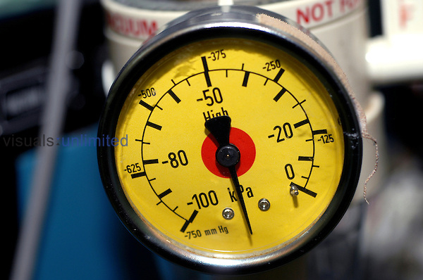 Close up of a gas pressure meter. Royalty Free