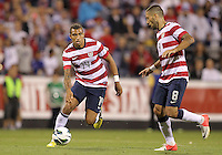 COLUMBUS, OHIO - SEPTEMBER 11, 2012:  Danny Williams (14) of the USA MNT with Clint Dempsey (8) against Jamaica during a CONCACAF 2014 World Cup qualifying  match at Crew Stadium, in Columbus, Ohio on September 11. USA won 1-0.