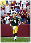 Green Bay's Brett Favre walks off the field after throwing an interception late in the 4th quarter. Washington's Fred Smoot made the interception. .The Green Bay Packers traveled to FedEx Field in Landover, MD, to play the Washington Redskins Sunday, October 31, 2004. The Packers won 28-14. WSJ/Steve Apps.