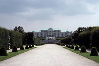 Vienna: The Upper Belvedere Palace--viewed from the Lower Belvedere Palace. Manicured gardens. Photo '87.