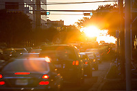 """The sun rises over downtown Austin traffic jam as state workers and commuters drive to the Capitol of Texas. """"Greetings from Austin the Traffic Congestion Capitol of Texas."""""""