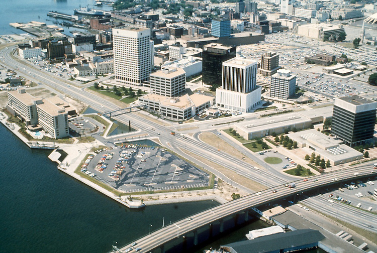 1977 June ..Redevelopment.Downtown South (R-9)..WATERFONT AERIAL.LOOKING NORTHWEST...NEG#.NRHA# 4907..