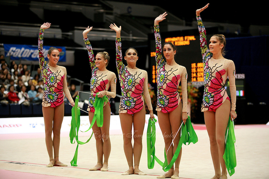 Italian rhythmic group waves to fans after 5-ribbons routine at 2006 Mie World Cup Finale of rhythmic gymnastics on November 17, 2006 at Mie, Japan.<br />