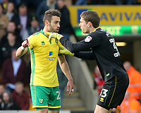 Norwich City's Ivo Pinto argues with Michael McGovern<br /> <br /> Photographer David Shipman/CameraSport<br /> <br /> The EFL Sky Bet Championship - Norwich City v Blackburn Rovers - Saturday 11th March 2017 - Carrow Road - Norwich<br /> <br /> World Copyright &copy; 2017 CameraSport. All rights reserved. 43 Linden Ave. Countesthorpe. Leicester. England. LE8 5PG - Tel: +44 (0) 116 277 4147 - admin@camerasport.com - www.camerasport.com