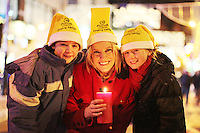 """NO REPRO FEE. 17/12/2010. Focus Ireland festive lights. Kate Conway 11 from Glasnevin and Max O Neill 9 from Rathgar with the Piccolo Lasso Choir are pictured with Pamela Flood  as she switched on the lights on the Christmas Tree on Grafton Street, Dublin this evening for the Focus Ireland """"Sponsor a Star"""" campaign. EUR250,000 has been raised by businesses sponsoring a star on the landmark tree which is dedicated to people who are homeless. Picture James Horan/Collins Photos"""