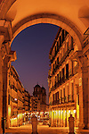 Plaza Mayor Arch view to Church of San Isidro el Real, Madrid, Spain