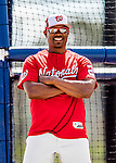 27 February 2017: Washington Nationals Assistant Hitting Coach Jacque Jones watches batting practice during a Spring Training workout at the Ballpark of the Palm Beaches in West Palm Beach, Florida. Mandatory Credit: Ed Wolfstein Photo *** RAW (NEF) Image File Available ***