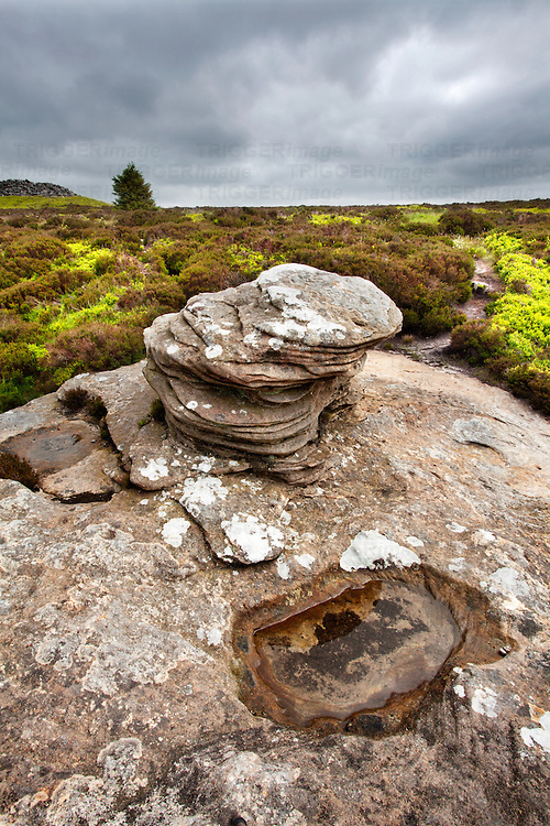 Rock Formation at Dove Crag in the Simonside Hills near Rothbury Northumberland England